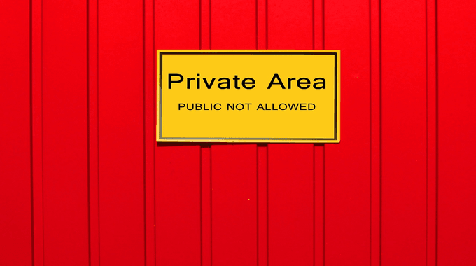 a photo of a private area sign