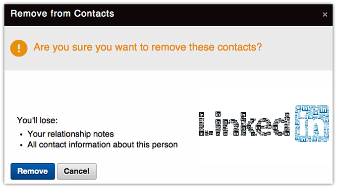 screenshot of remove contact from LinkedIn